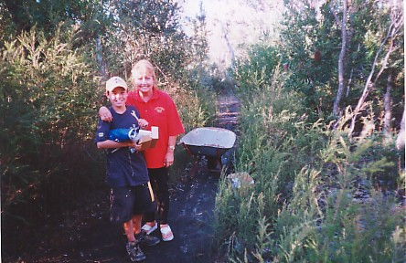 Callum and Lana at the bush track site.